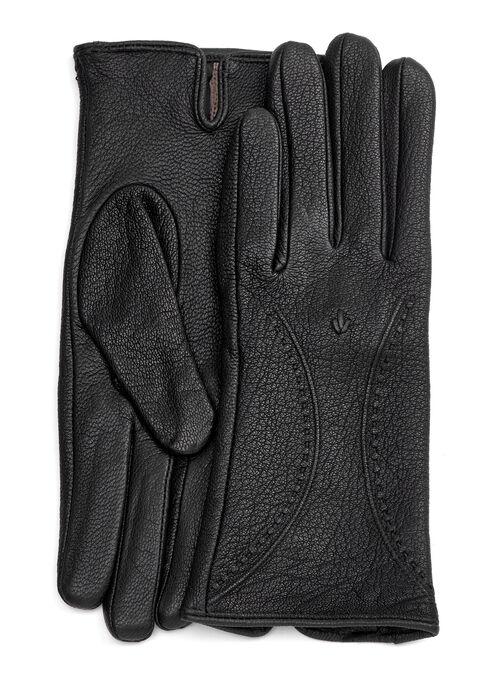Deerskin Leather Gloves, Black, hi-res