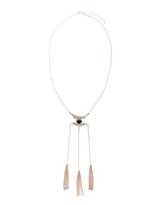 Chain Tassel Pendant Necklace , White, hi-res