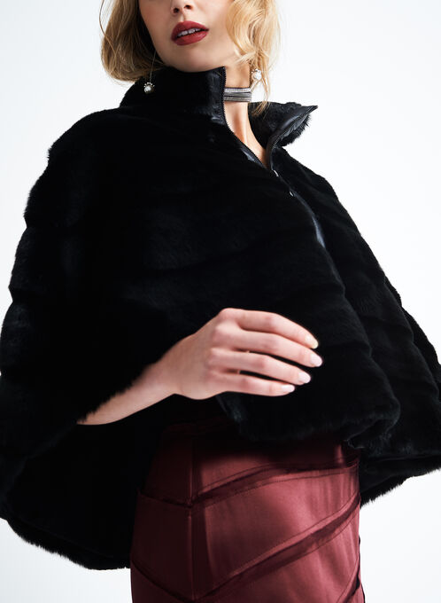 Grouved Faux Fur Jacket , Black, hi-res