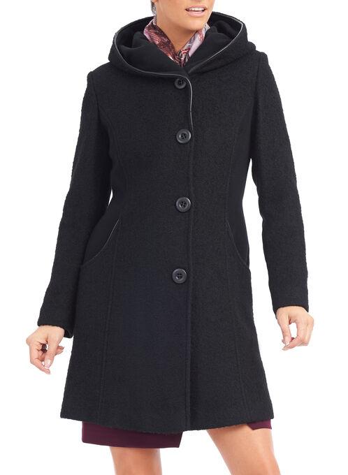 Wool & Faux Leather Trim Coat , Black, hi-res