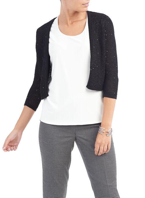 Open Knit Sequined 3/4 Sleeve Bolero, Black, hi-res