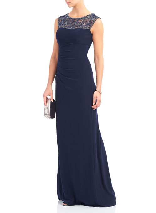 Sleeveless Beaded Empire Gown , Blue, hi-res