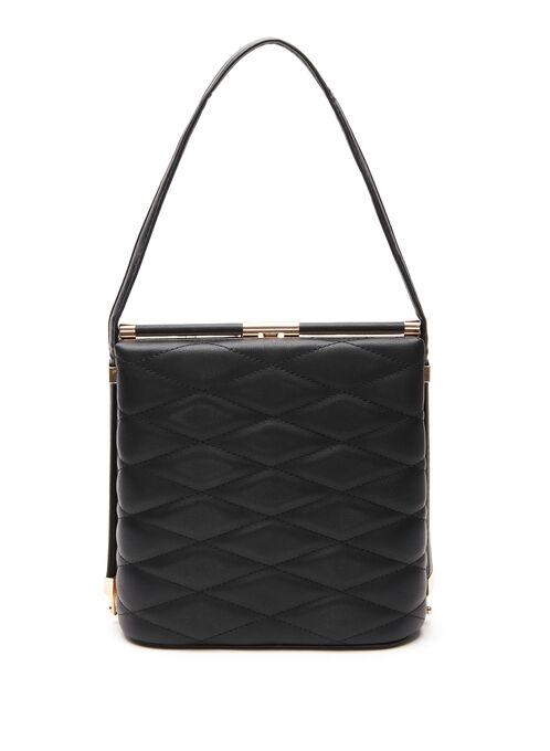 Faux Leather Diamond Quilt Mini Box Bag, Black, hi-res