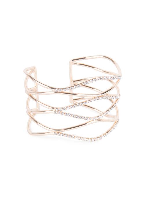 Crystal Cuff Bracelet , Gold, hi-res