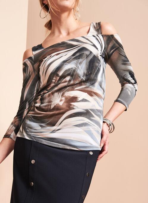 Abstract Print Cold Shoulder Top , Grey, hi-res