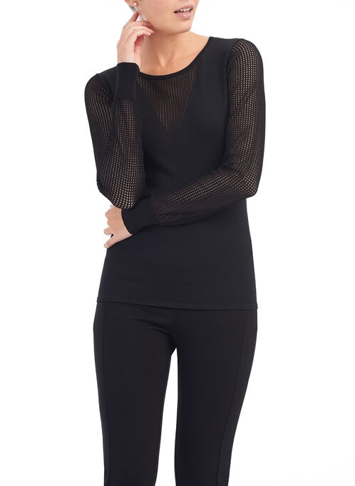 Scoop Neck Illusion Sweater , Black, hi-res