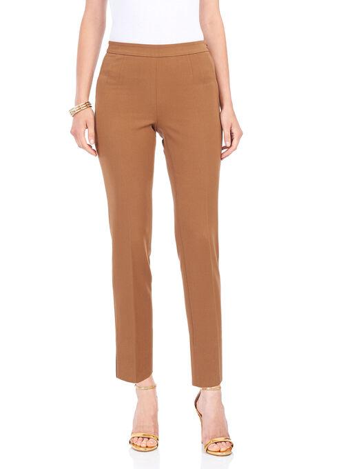 Slit Detail 7/8 Pants , Brown, hi-res