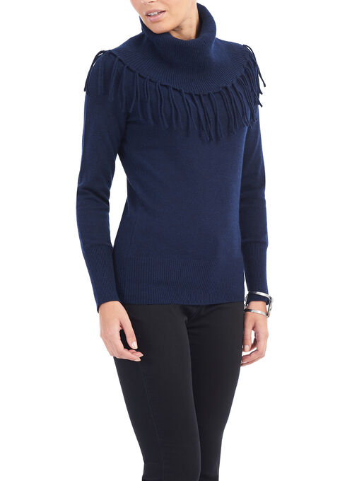 Cowl Neck Fringe Sweater, Blue, hi-res