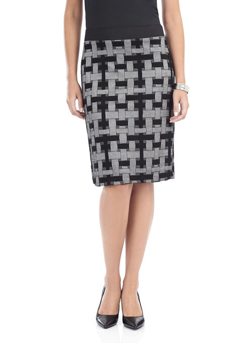 Linea Domani Knit Pencil Skirt, Grey, hi-res