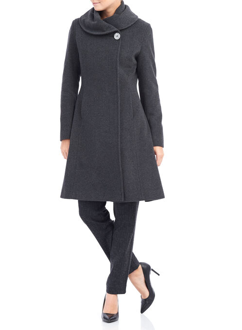 Mallia Wool Coat , Grey, hi-res