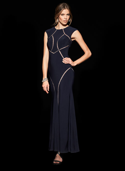 Extended Sleeve Jersey Mesh Gown, Blue, hi-res