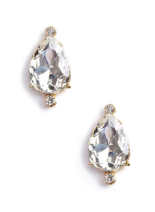 Jewel Teardrop Earrings , Gold, hi-res