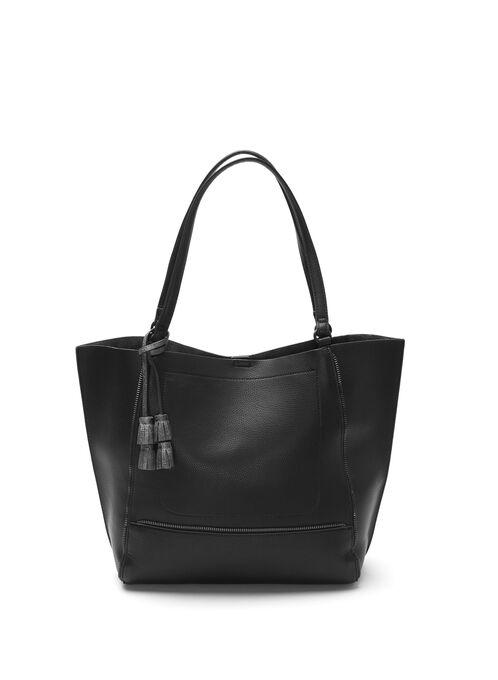 Faux Leather Tote Bag , Black, hi-res