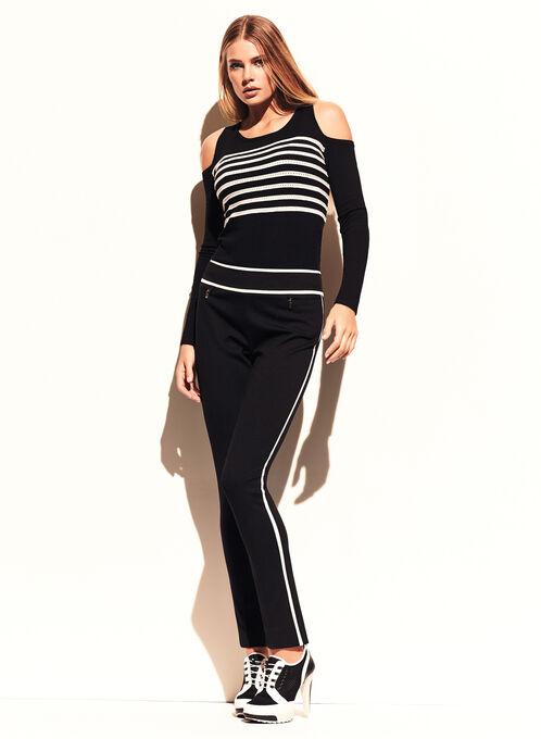 Stripe Print Cold Shoulder Sweater, Black, hi-res