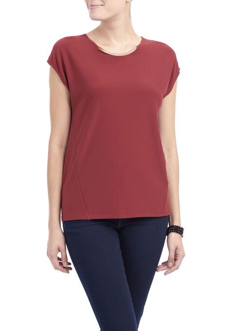 Cap Sleeve Crêpe Top , Red, hi-res