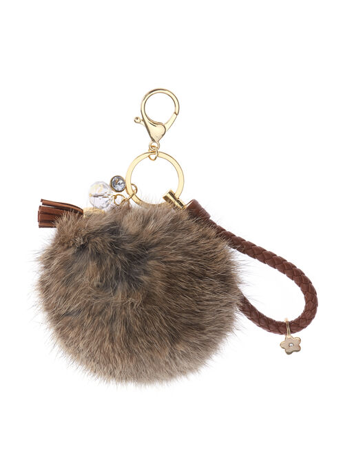 Braided Rabbit Fur Key Chain, Off White, hi-res
