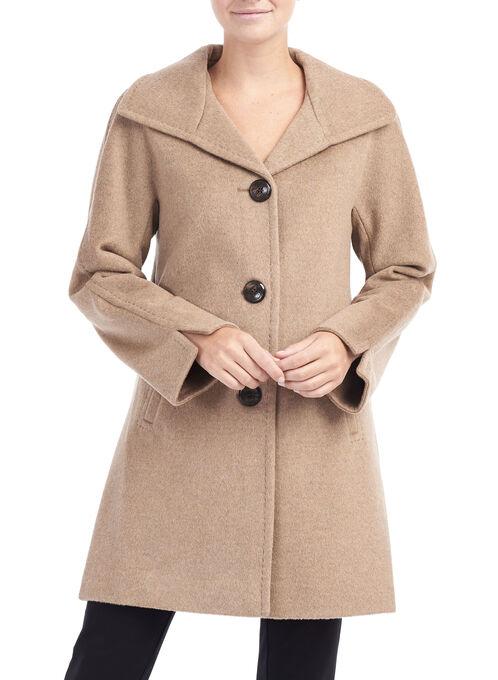 Wool & Angora Coat , Brown, hi-res