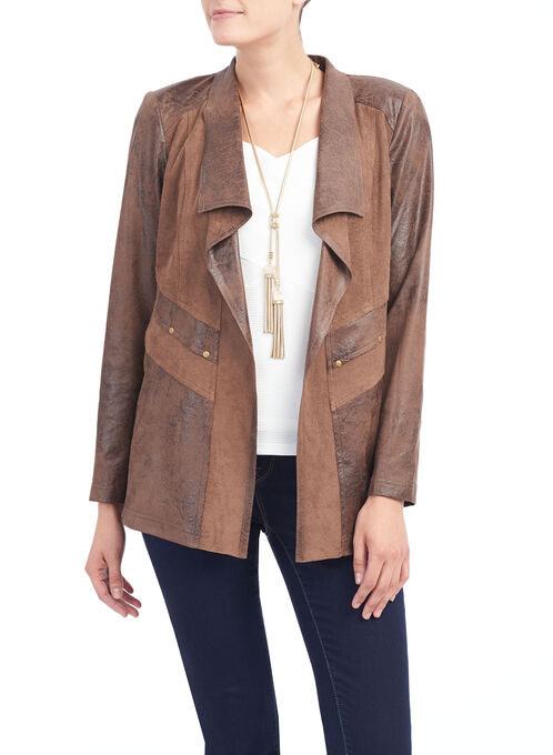 Vex Faux Leather Jacket , Brown, hi-res