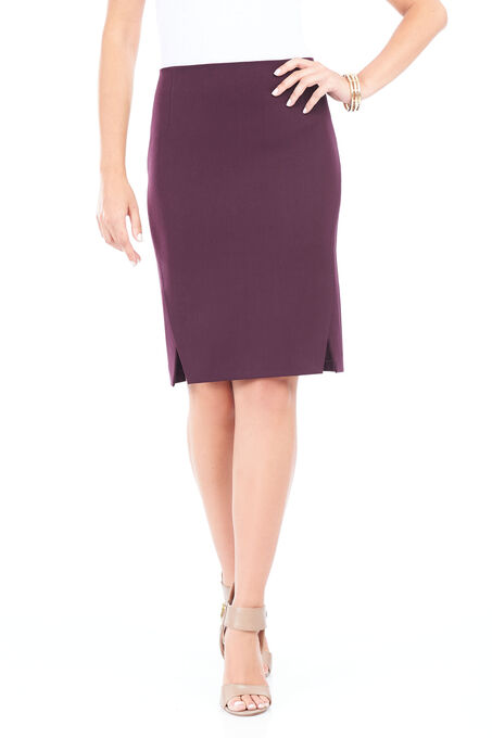 Double Slit Pencil Skirt , Red, hi-res