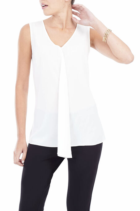 Sleeveless Draped Front Blouse , Off White, hi-res