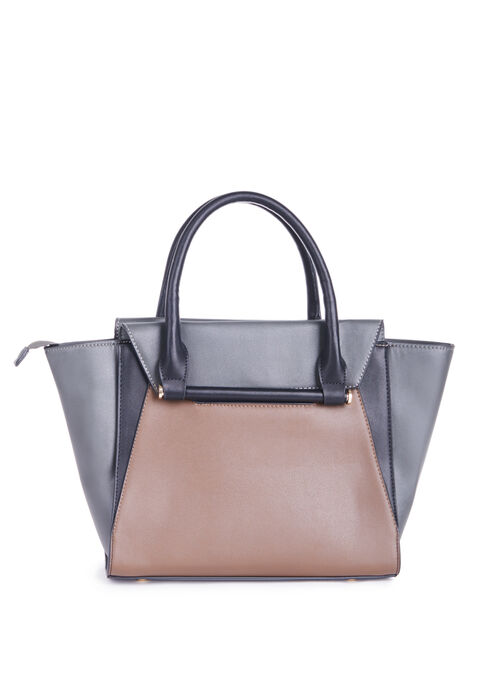 Colour Block Tote Handbag, Grey, hi-res