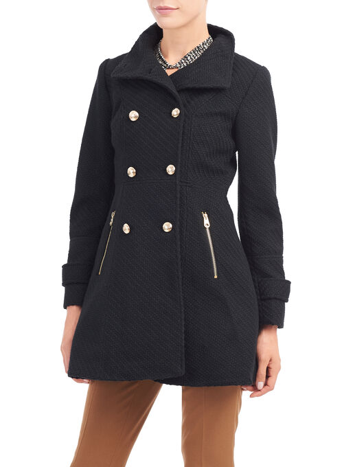 Jessica Simpson Braided Wool Blend Coat, Black, hi-res