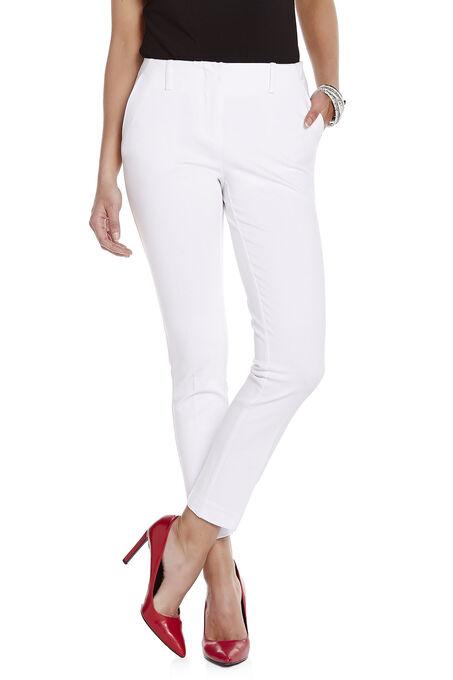 Slim Leg No-Waist Pants, White, hi-res