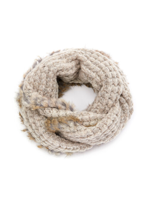 Melange Knit & Rabbit Fur Loop Scarf, Off White, hi-res