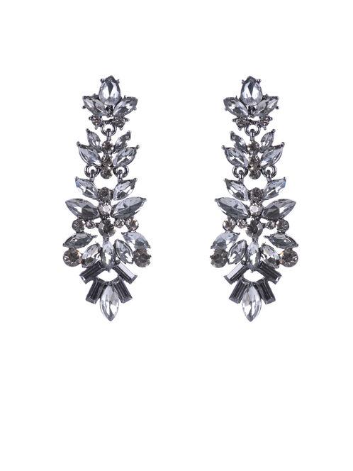 Crystal Chandelier Earrings , Grey, hi-res