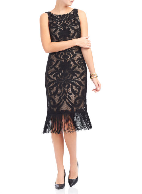 Adrianna Papell Lace Knit Dress, Black, hi-res