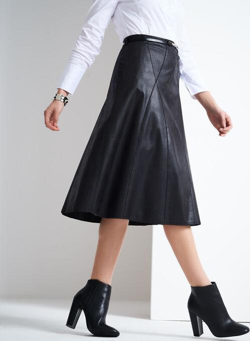 Vex Faux Leather A-Line Skirt , Black, hi-res
