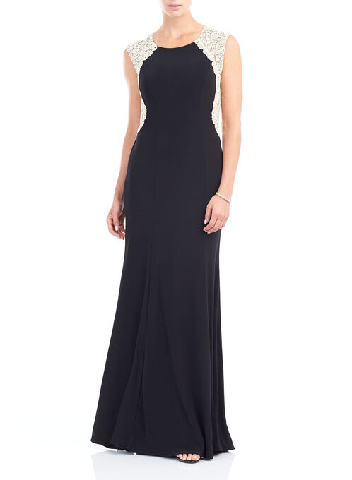 Jersey & Lace Gown , Black, hi-res