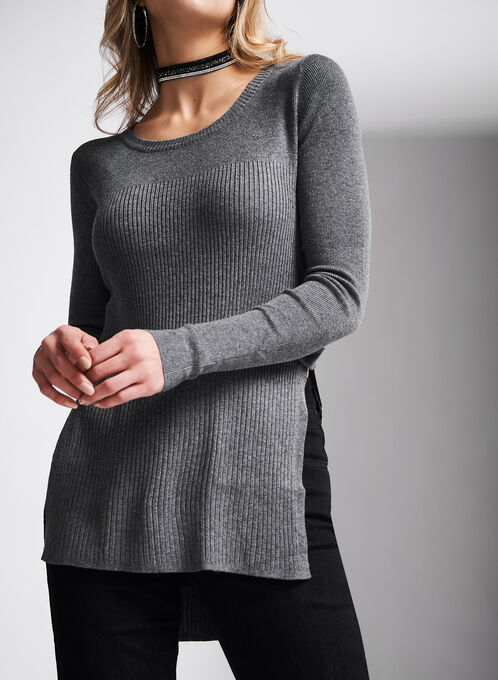 High Slit Ribbed Sweater, Brown, hi-res