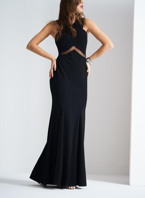 Cachet Illusion Waist Crepe Dress, Black, hi-res