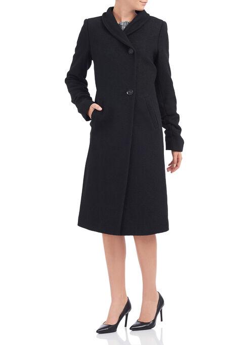 Novelti Wool Blend Coat , Black, hi-res