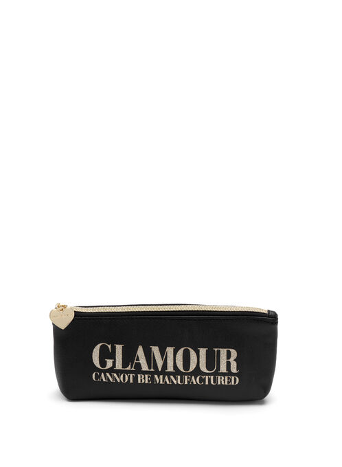 Printed Glitter Pouch , Black, hi-res