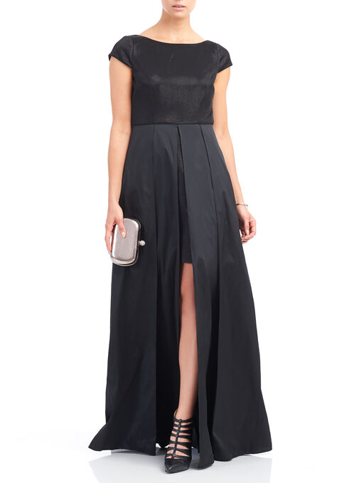 Adrianna Papell High Low Gown , Black, hi-res