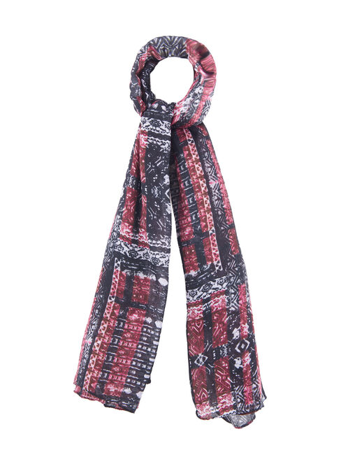 Abstract Print Oblong Scarf, Black, hi-res