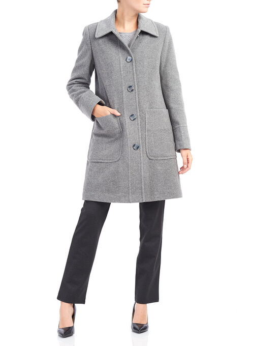Wool and Cashemere Blend Single Breasted Coat, Grey, hi-res