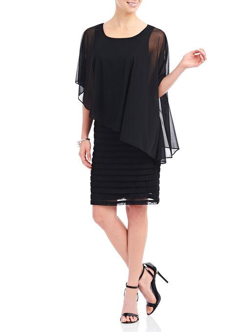 Adrianna Papell Jersey Shutter Dress, Black, hi-res