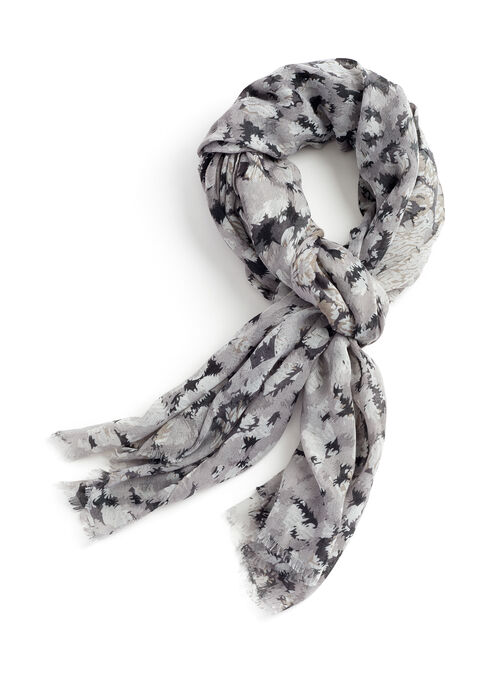 Animal Print Lightweight Scarf, Grey, hi-res