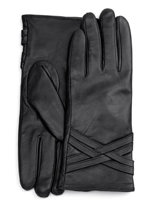 Criss-Cross Leather Gloves, Black, hi-res
