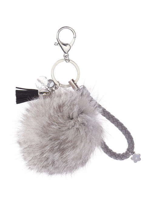 Braided Rabbit Fur Key Chain, Grey, hi-res