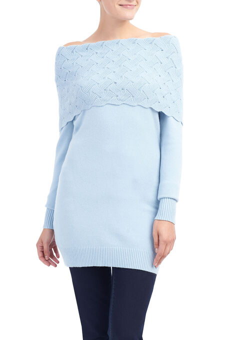 Pointelle Oversized Collar Tunic , Blue, hi-res