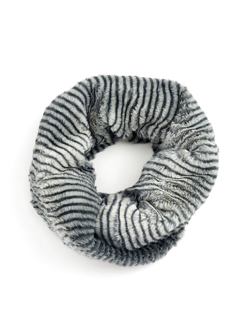 Faux Fur Oblong Scarf , Grey, hi-res