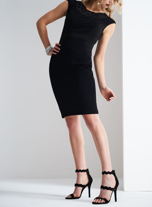 Jax Sparkle Soutache Dress, Black, hi-res