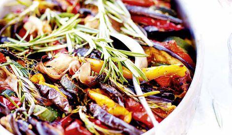 Tian de légumes au jambon fumé