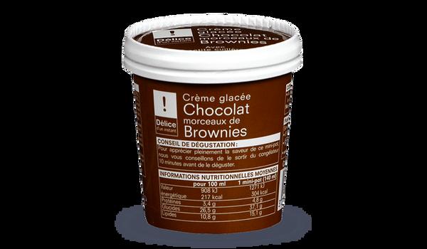 Crème glacée chocolat-morceaux de brownies