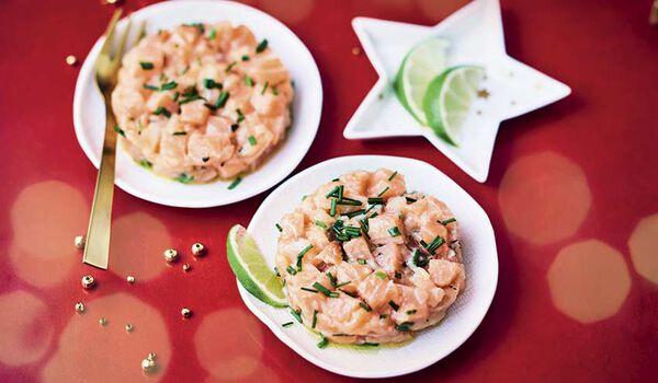 4 tartares de saumon à la ciboulette