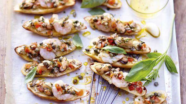 recette mini bruschetta aux fruits de mer recettes les recettes italiennes picard. Black Bedroom Furniture Sets. Home Design Ideas